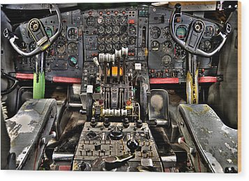 Cockpit Controls Hdr Wood Print by Kevin Munro