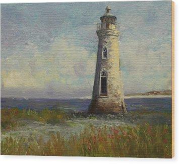 Cockspur Island Lighthouse Wood Print by Nora Sallows