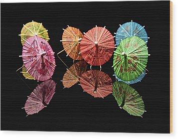 Cocktail Umbrellas II Wood Print by Tom Mc Nemar