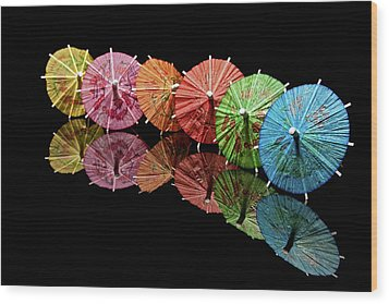 Cocktail Umbrellas IIi Wood Print by Tom Mc Nemar