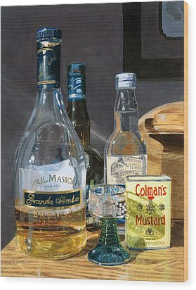 Wood Print featuring the painting Cocktails And Mustard by Lynne Reichhart