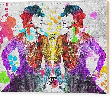 Coco Chanel Grunge 2 Wood Print