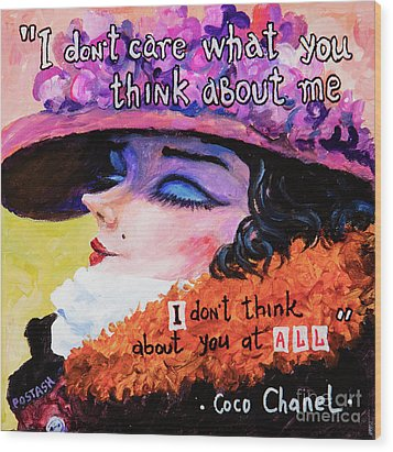 Wood Print featuring the painting Coco Chanel by Igor Postash