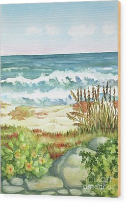 Wood Print featuring the painting Cocoa Beach Afternoon by Inese Poga