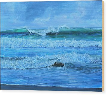 Wood Print featuring the painting Cocoa Beach Surf by AnnaJo Vahle