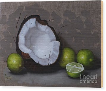 Coconut And Key Limes V Wood Print by Clinton Hobart