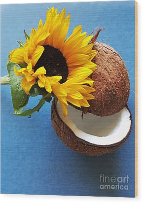 Coconut And Sunflower Harmony Wood Print by Jasna Gopic