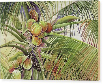 Coconut Palm Wood Print by Lyse Anthony