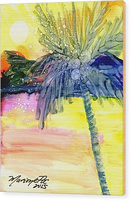 Wood Print featuring the painting Coconut Palm Tree 3 by Marionette Taboniar