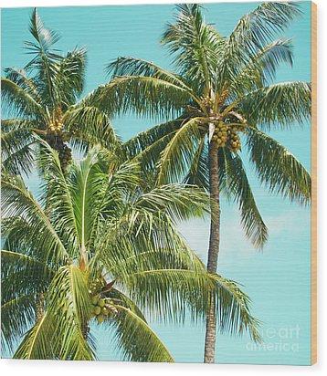 Wood Print featuring the photograph Coconut Palm Trees Sugar Beach Kihei Maui Hawaii by Sharon Mau