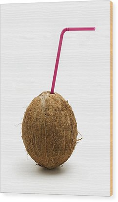 Coconut With A Straw Wood Print by Fabrizio Troiani
