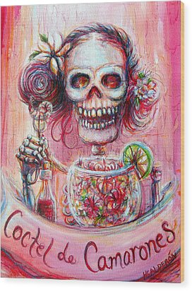 Wood Print featuring the painting Coctel De Camarones by Heather Calderon