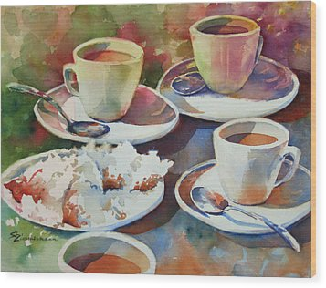 Coffee And Beignets Wood Print by Sue Zimmermann