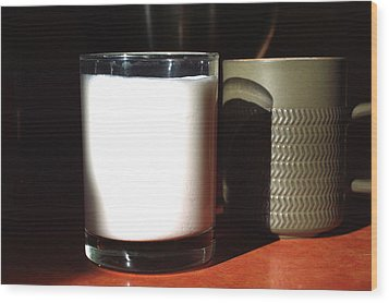 Coffee And Kefir Wood Print by Aliceann Carlton