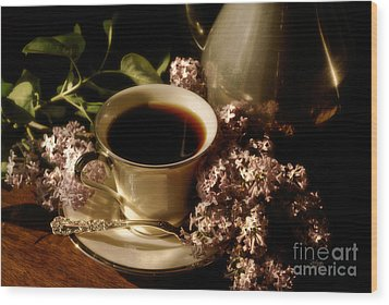 Coffee And Lilacs In The Morning Wood Print by Lois Bryan