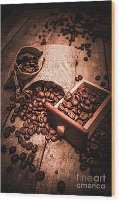Coffee Bean Art Wood Print