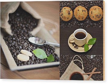 Coffee Collage Photo Wood Print by Serena King