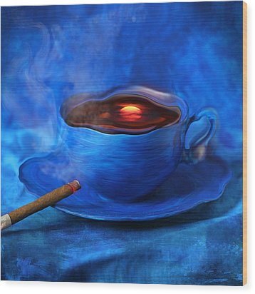 Coffee For Mister Klein Wood Print by Floriana Barbu
