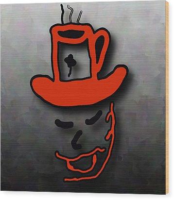 Coffee Hat Man Wood Print
