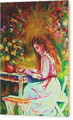 Coffee In The Garden Wood Print by Carole Spandau