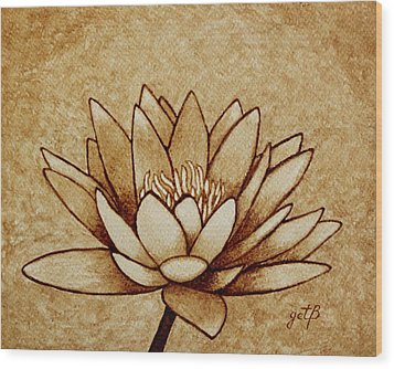 Coffee Painting Water Lilly Blooming Wood Print by Georgeta  Blanaru