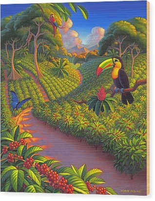 Wood Print featuring the painting Coffee Plantation by Robin Moline