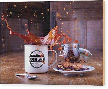Coffee Splash Wood Print