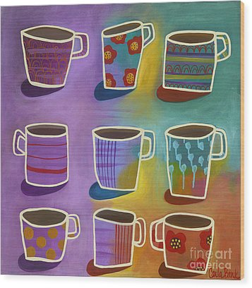 Coffee Time Wood Print by Carla Bank
