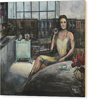 Coffee With Kate Wood Print by Antonio Ortiz