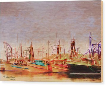 Wood Print featuring the photograph Coffs Harbour Fishing Trawlers by Wallaroo Images