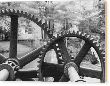 Cogs Wood Print by Greg Fortier