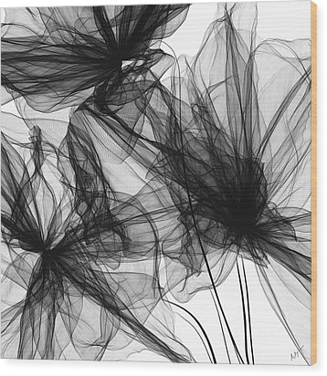 Coherence - Black And White Modern Art Wood Print