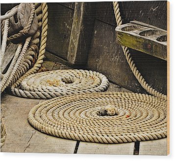 Coiled Rope From Philadelphia II Gunboat Wood Print