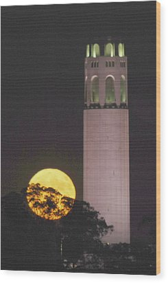 Coit Tower And Harvest Moon Wood Print