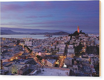 Coit Tower And North Beach At Dusk Wood Print by Photo by Brandon Doran