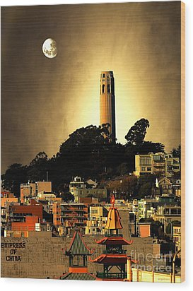 Coit Tower And The Empress Of China Under The Golden Moonlight Wood Print by Wingsdomain Art and Photography
