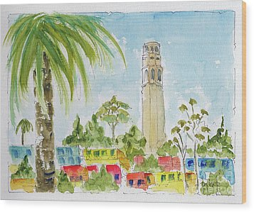 Wood Print featuring the painting Coit Tower by Pat Katz
