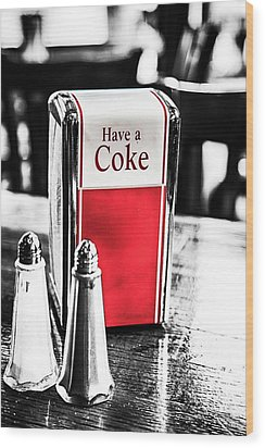 Wood Print featuring the photograph Coke Napkins by Karol Livote