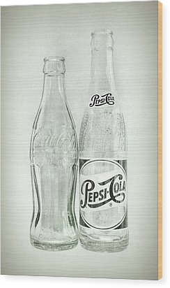 Coke Or Pepsi Black And White Wood Print by Terry DeLuco