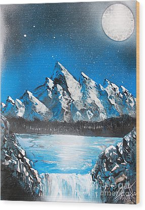 Wood Print featuring the painting Cold Blue by Greg Moores