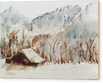 Wood Print featuring the mixed media Cold Cove by Seth Weaver