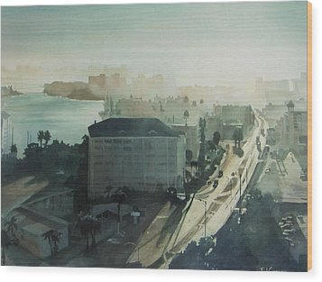 Cold Dawn On Gulf Boulevard Wood Print by Elizabeth Carr