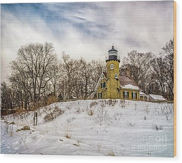 Wood Print featuring the photograph Cold Day At White River Lighthouse by Nick Zelinsky