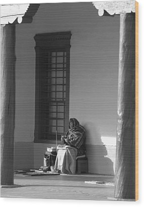 Wood Print featuring the photograph Cold Native American Woman by Rob Hans