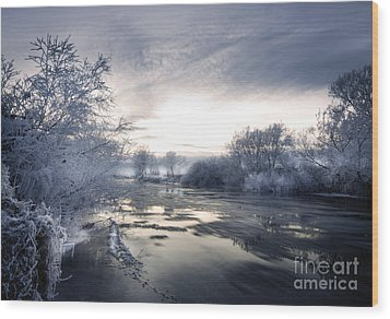 Cold River Flow Wood Print by Angel  Tarantella