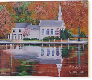 Cold Spring Harbor St Johns Church Wood Print