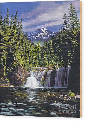 Cold Water Falls Wood Print by David Lloyd Glover