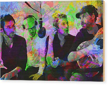 Coldplay Band Portrait Paint Splatters Pop Art Wood Print