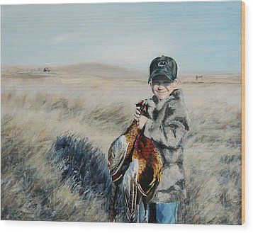 Cole's Pheasant Wood Print by Conny Riley