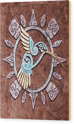 Wood Print featuring the painting Colibri by J- J- Espinoza